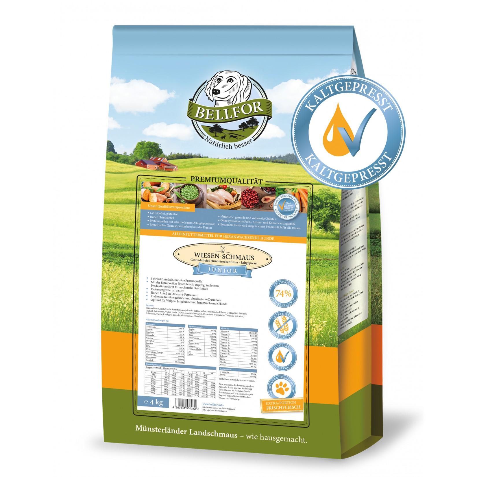 comida cão junior frango natural saudável sem cereais prensada a frio